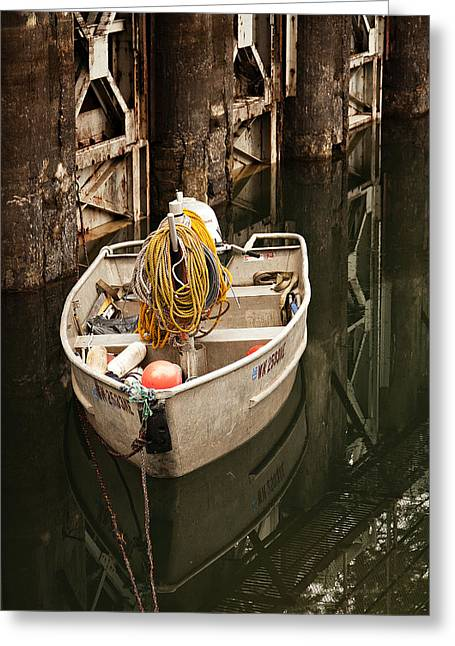 Docked Boat Greeting Cards - Rope and Buoys Greeting Card by Woody Wright