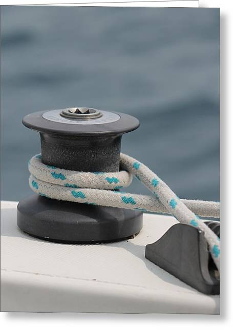 Boat Hardware Greeting Cards - Rope And Winch Greeting Card by Karl Anderson