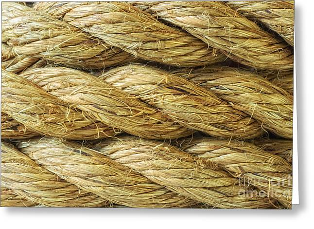 Warm Tones Photographs Greeting Cards - Rope Background Texture Greeting Card by Amanda And Christopher Elwell
