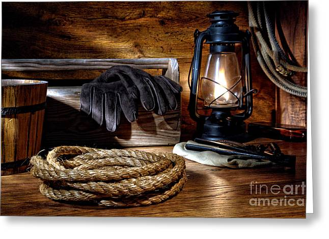 Kerosene Lamp Greeting Cards - Rope in the Ranch Barn Greeting Card by Olivier Le Queinec