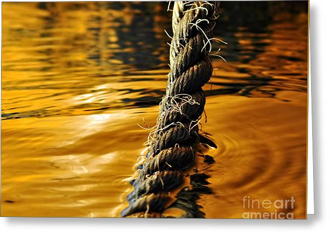 Rope On Liquid Gold Greeting Card by Kaye Menner