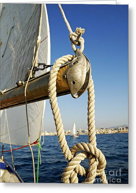 Sami Sarkis Greeting Cards - Rope on sailboat mast during navigation Greeting Card by Sami Sarkis