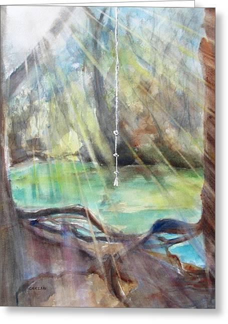 Tree Roots Paintings Greeting Cards - Rope Swing Greeting Card by Carlin Blahnik
