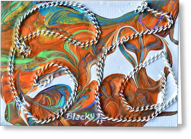 Art In Acrylic Greeting Cards - Rope Trick Greeting Card by Donna Blackhall