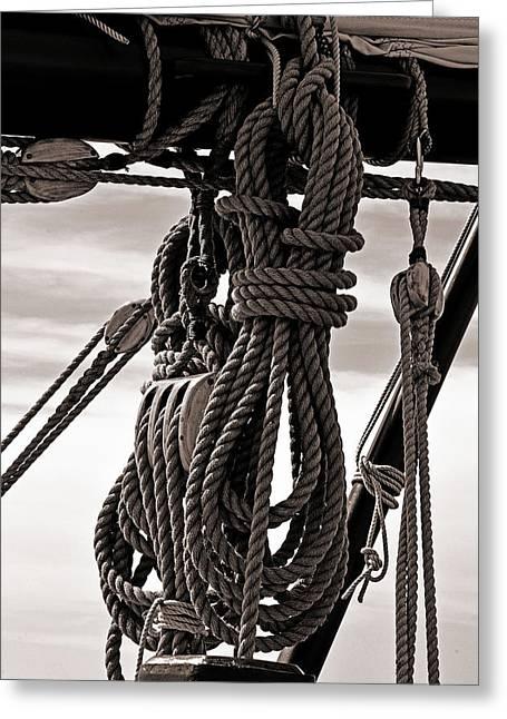 Historic Schooner Greeting Cards - Rope Work Greeting Card by John Flack