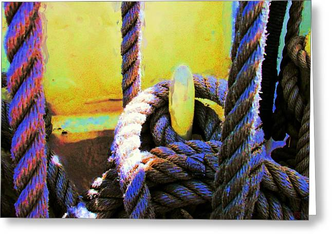 Wooden Ship Greeting Cards - Ropes and Bulkhead Greeting Card by Steve Caunce