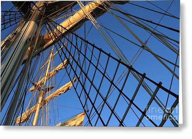 Sailing Ship Greeting Cards - Ropes and Flags Greeting Card by Four Hands Art