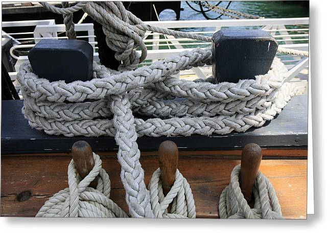 Wooden Ship Greeting Cards - Ropes II Greeting Card by Gladys Turner Scheytt
