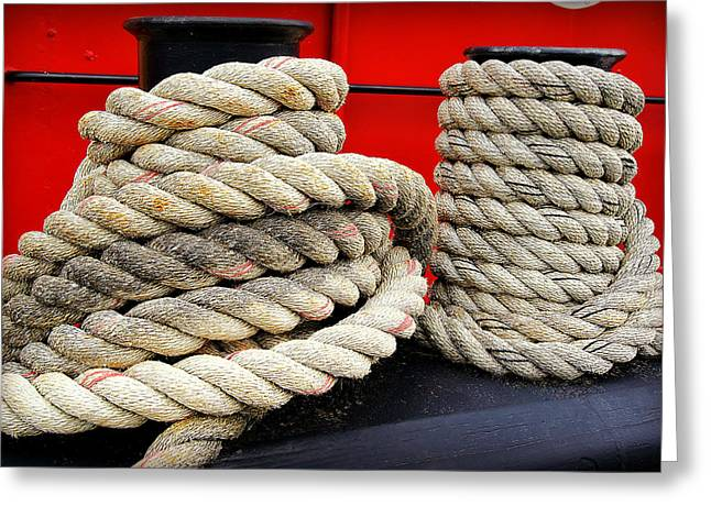 Fireboat Framed Prints Greeting Cards - Ropes of The Big Red Tug Greeting Card by Carol Toepke