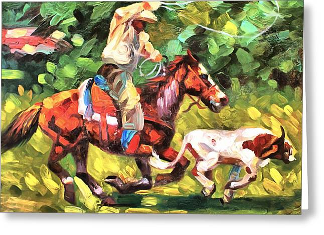 Roping Horse Greeting Cards - Roping A Runaway Greeting Card by Studio Artist