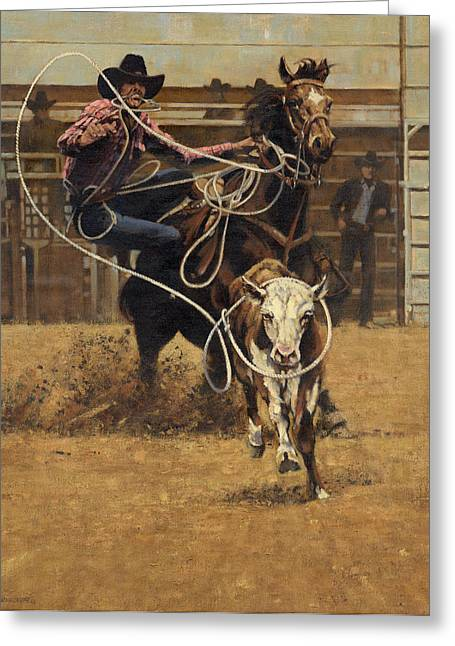 Steer Paintings Greeting Cards - Rodeo Roping Young Steer Greeting Card by Don  Langeneckert