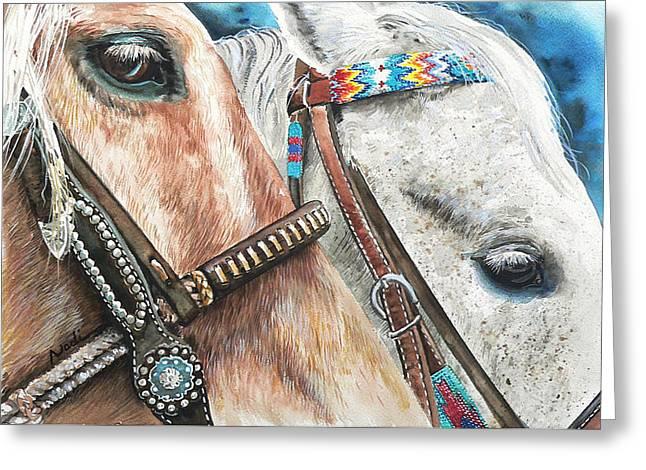 Roping Horses Greeting Card by Nadi Spencer