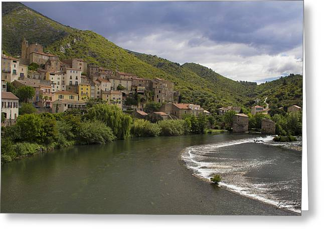 Roquebrun Greeting Cards - Roquebrun Village Greeting Card by Karissa Leonard