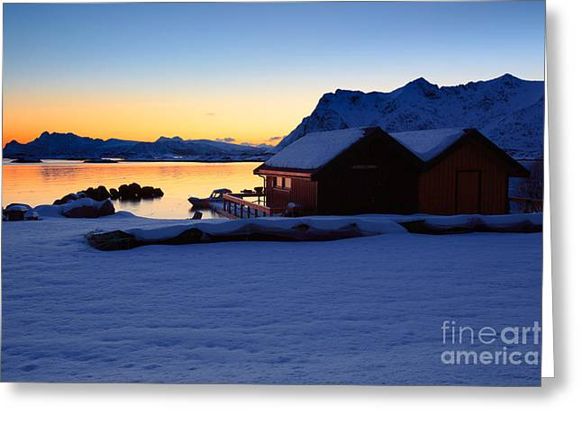 Norwegian Sunset Greeting Cards - Rorbuer at sunset Greeting Card by Francesco Ferrarini