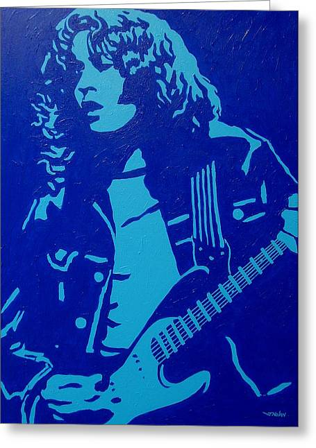 Singer Paintings Greeting Cards - Rory Gallagher Greeting Card by John  Nolan
