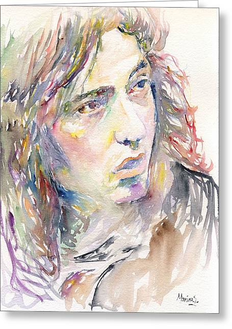 Skid Row Greeting Cards - Rory Gallagher Greeting Card by Marina Sotiriou