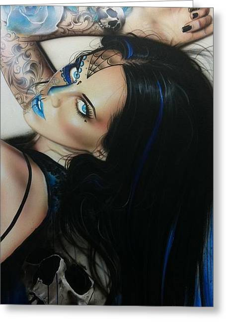 Portrait - ' Rosa Azul ' Greeting Card by Christian Chapman Art