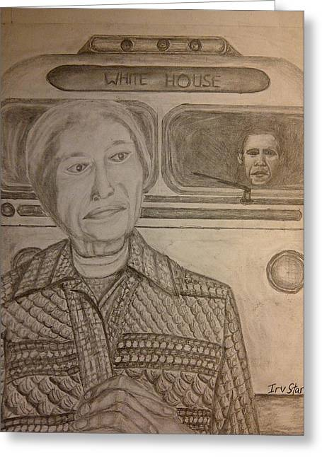 Barack Obama Drawings Greeting Cards - Rosa Parks Imagined Progress Greeting Card by Irving Starr