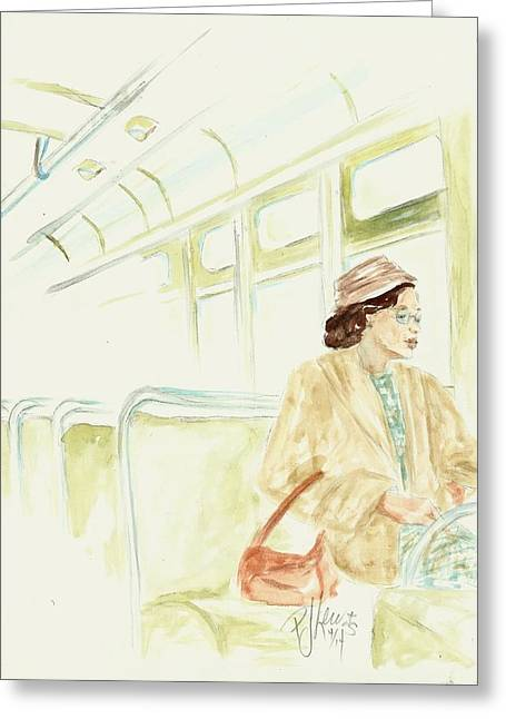 African American Drawings Greeting Cards - Rosa Parks rides Greeting Card by P J Lewis