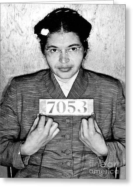 Civil Rights Movement Greeting Cards - Rosa Parks Greeting Card by Unknown