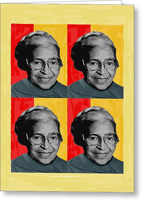 People Pyrography Greeting Cards - Rosa Parks X4 Greeting Card by Lawrence Hubbs
