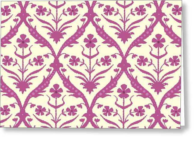 Rosa Trellis Ikat Greeting Card by Sharon Turner