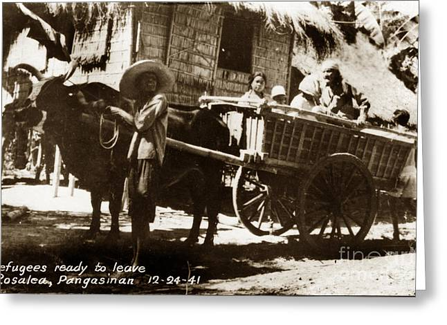 Ww11 Photographs Greeting Cards - Rosales Pangasinan Philippines Refugees Leaving in Ox Cart 12-24-1941 Greeting Card by California Views Mr Pat Hathaway Archives