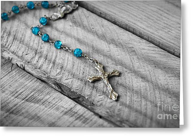 Rosary Greeting Cards - Rosary Greeting Card by Aged Pixel