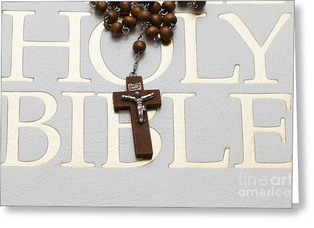 Rosary Greeting Cards - Rosary and Bible Greeting Card by Diane Macdonald