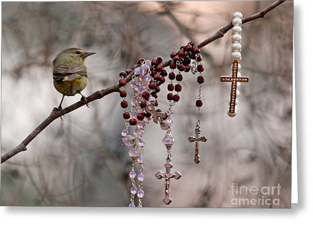 Warbler Digital Art Greeting Cards - Rosary and Warbler Greeting Card by Luana K Perez