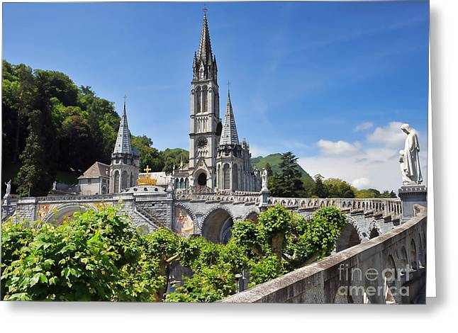 Rosary Greeting Cards - Rosary Basilica in Lourdes France Greeting Card by Graham Taylor