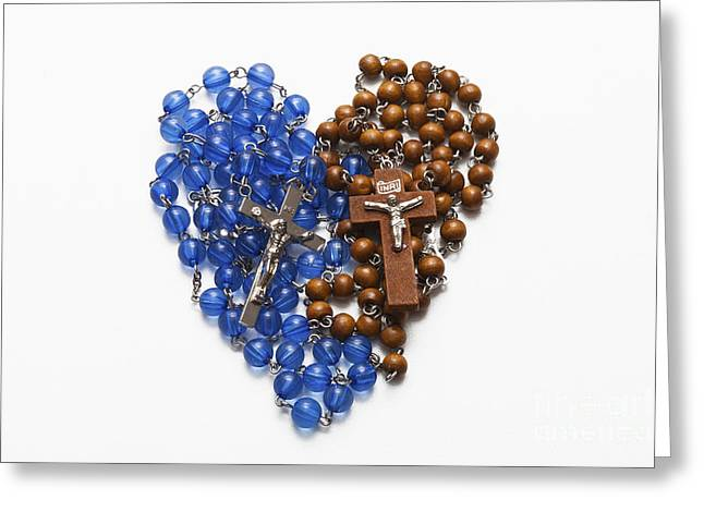 Rosary Greeting Cards - Rosary Heart Greeting Card by Diane Macdonald