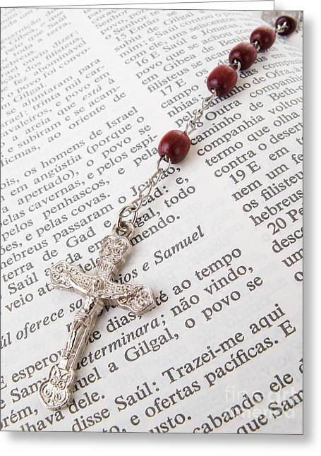 Jesus Christ Icon Greeting Cards - Rosary over an old holy bible Greeting Card by Jose Elias - Sofia Pereira