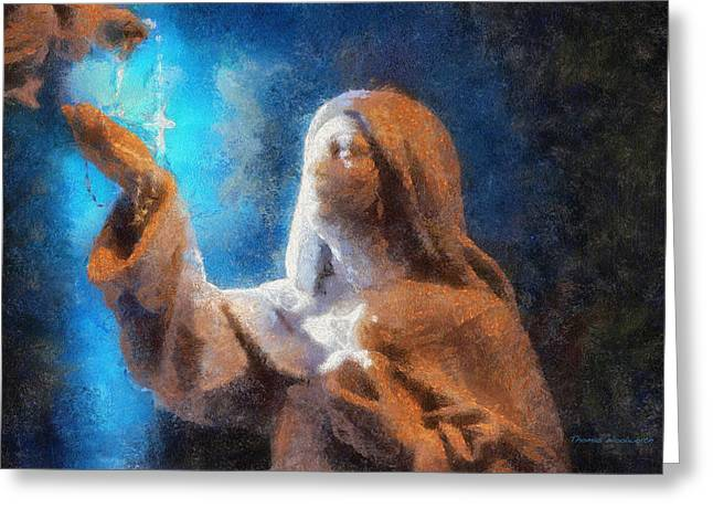 Saint Hope Greeting Cards - Rosary Photo Art Greeting Card by Thomas Woolworth