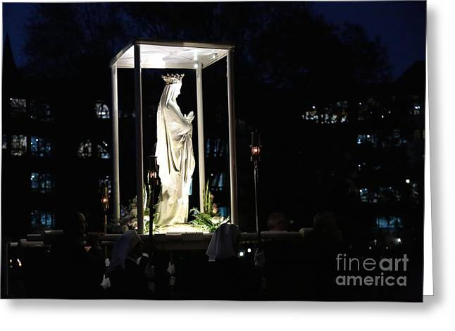 Rosary Greeting Cards - Rosary Procession in Lourdes Greeting Card by Carol Groenen