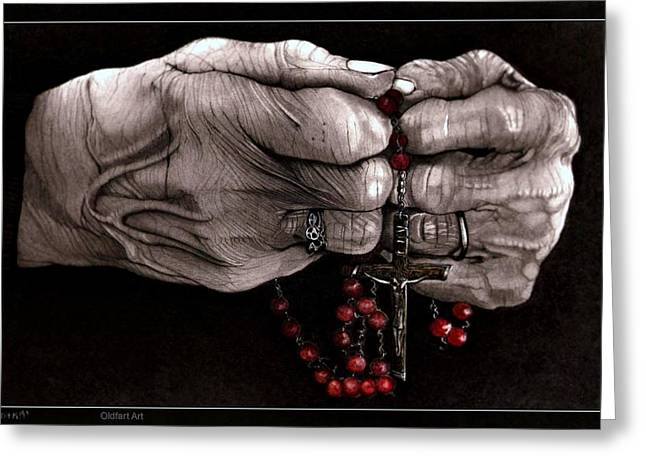 Rosary Drawings Greeting Cards - Rosary Greeting Card by Terry  McColl