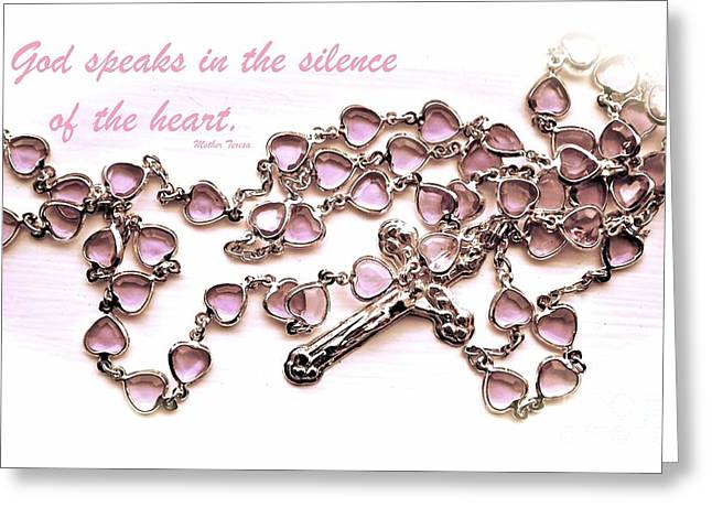 Rosary Greeting Cards - Rosary with Mother Teresa Quote - Inspirational Collection  Greeting Card by Cindy Nearing