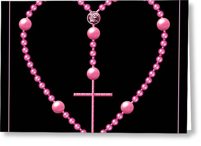 Rosary Digital Art Greeting Cards - Rosary with Pink and Purple Beads Greeting Card by Rose Santuci-Sofranko