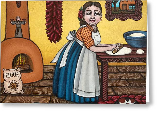 Country Kitchen Greeting Cards - Rosas Kitchen Greeting Card by Victoria De Almeida