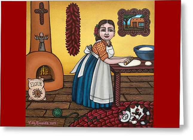 Rosas Kitchen Greeting Card by Victoria De Almeida