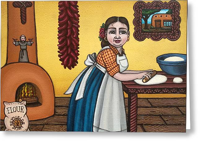 New Mexican Greeting Cards - Rosas Kitchen Greeting Card by Victoria De Almeida