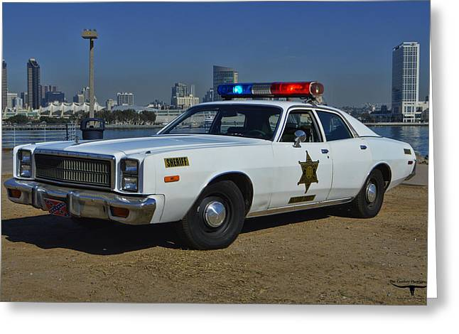 Dukes Of Hazard Greeting Cards - Roscoes Squad Car Greeting Card by Tommy Anderson