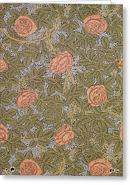Foliage Tapestries - Textiles Greeting Cards - Rose 93 wallpaper design Greeting Card by William Morris