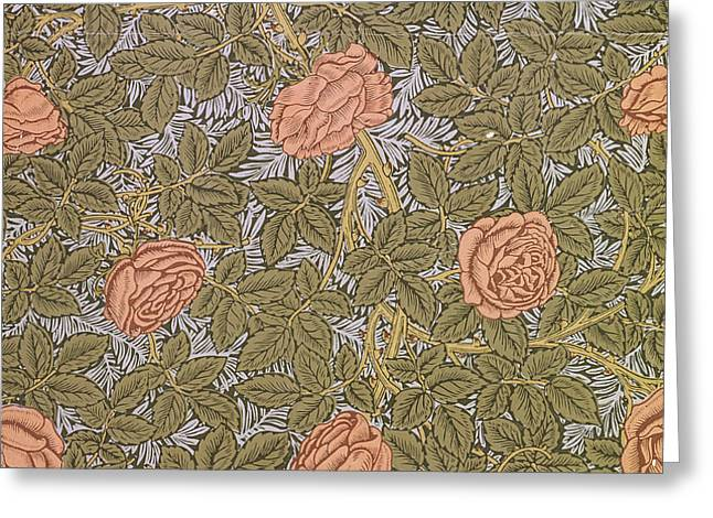 Rose 93 wallpaper design Greeting Card by William Morris