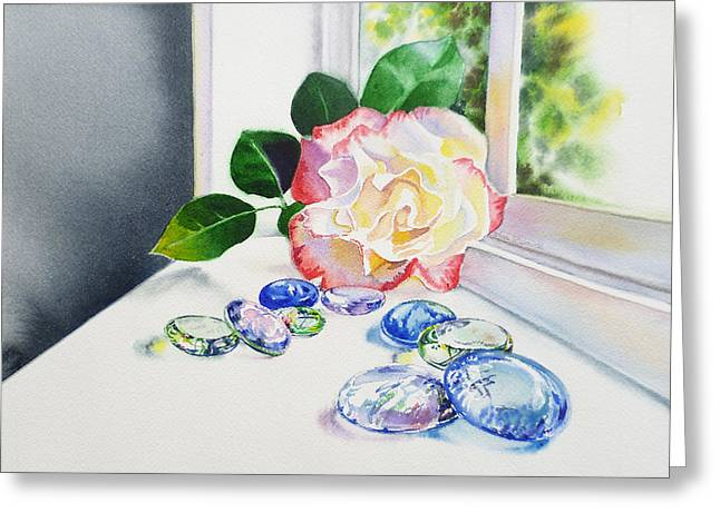 Floral Still Life Greeting Cards - Rose and Glass Rocks Greeting Card by Irina Sztukowski