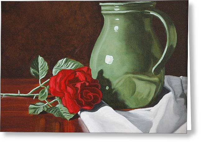 Water Jug Greeting Cards - Rose and Green Jug Still Life Greeting Card by Daniel Kansky