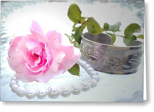 Rose And Pearls Greeting Card by Barbara  White