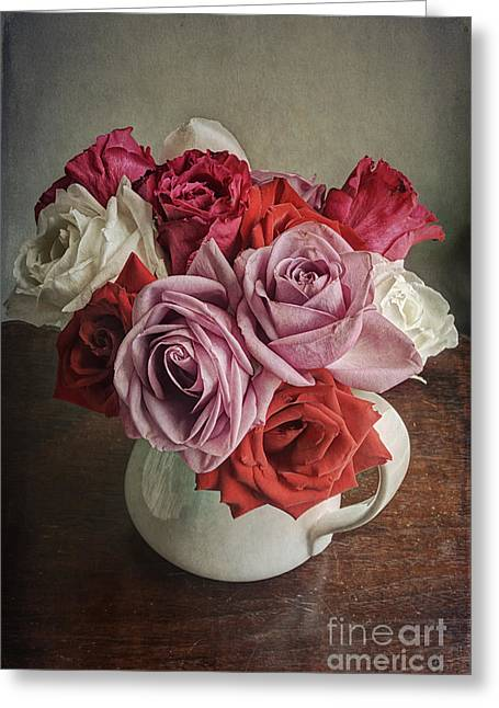 Old Pitcher Greeting Cards - Rose Bounty Greeting Card by Terry Rowe