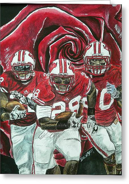 Running Back Paintings Greeting Cards - Rose Bowl Badgers Greeting Card by Dan Wagner