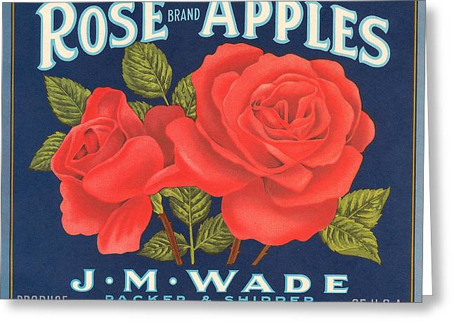Apple Crates Greeting Cards - Rose Brad Apples Crate Label Greeting Card by Label Art